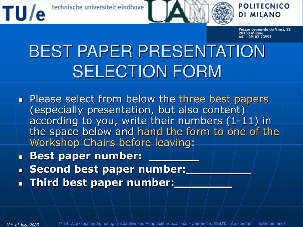 BEST PAPER PRESENTATION SELECTION FORM