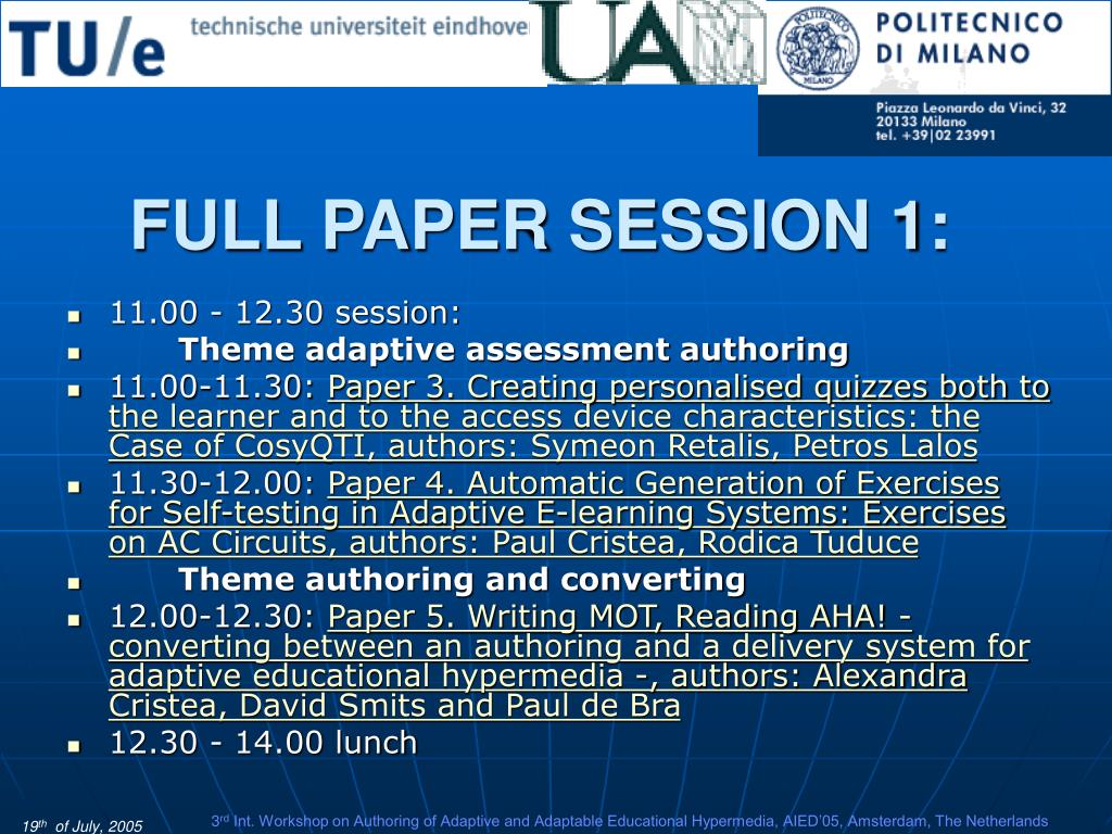 FULL PAPER SESSION 1: