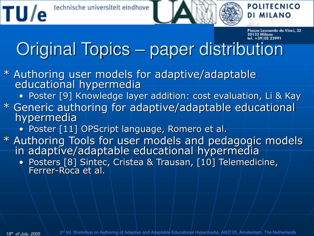 Original Topics – paper distribution