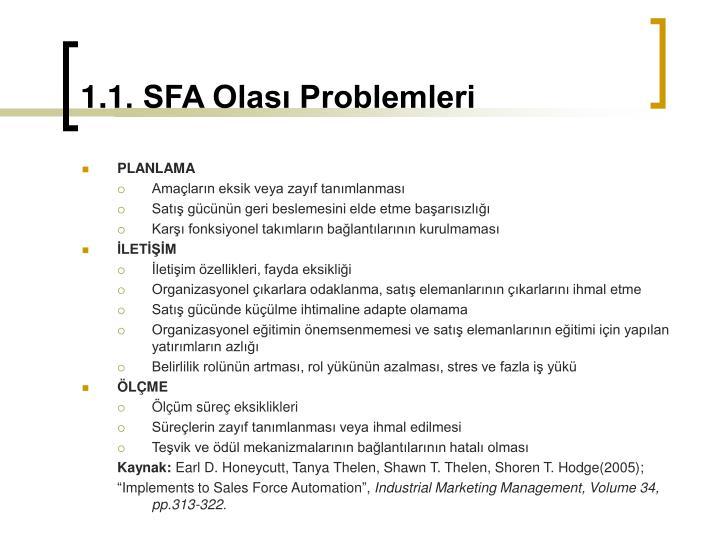 1.1. SFA Olası Problemleri
