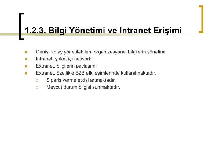 1.2.3. Bilgi Yönetimi ve Intranet Erişimi