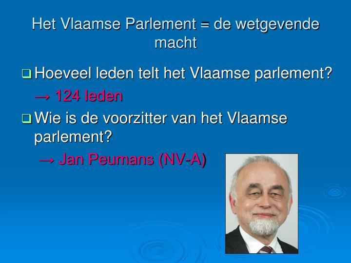 Het Vlaamse Parlement = de wetgevende macht