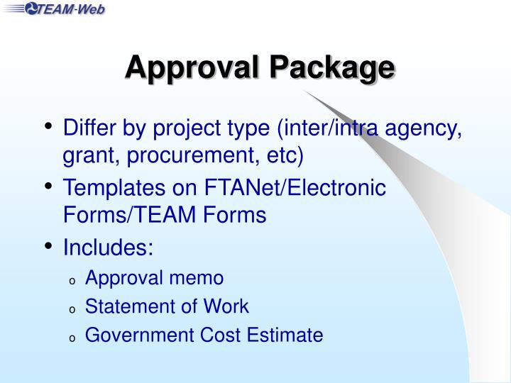 Approval Package