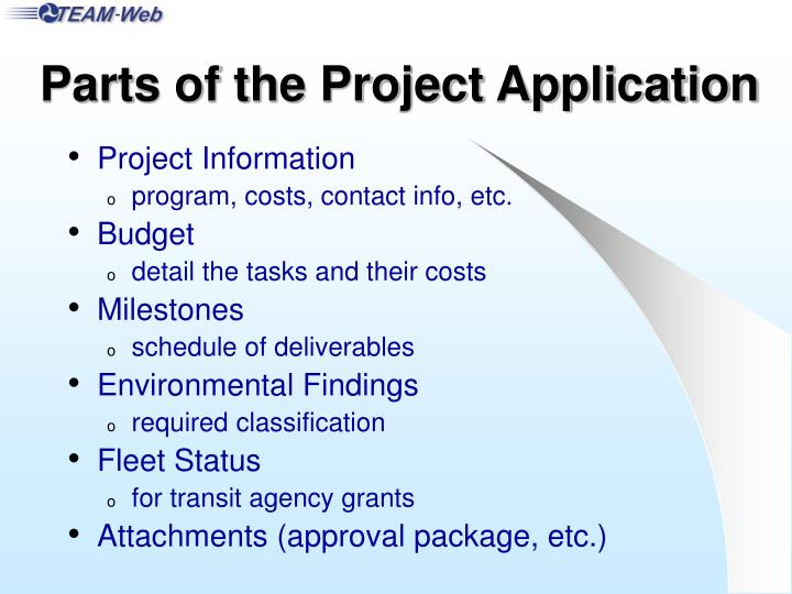 Parts of the Project Application