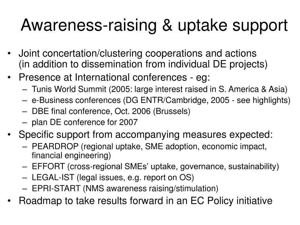Awareness-raising & uptake support