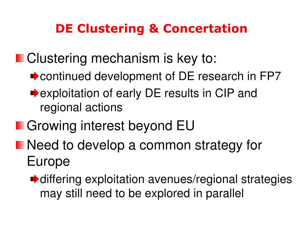 DE Clustering & Concertation