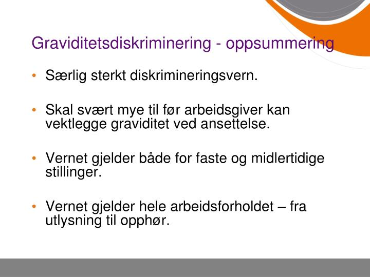 Graviditetsdiskriminering - oppsummering
