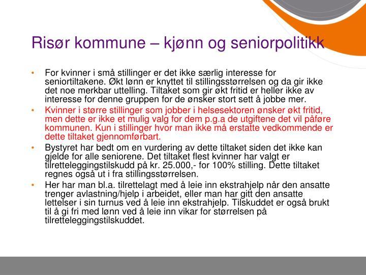 Risør kommune – kjønn og seniorpolitikk
