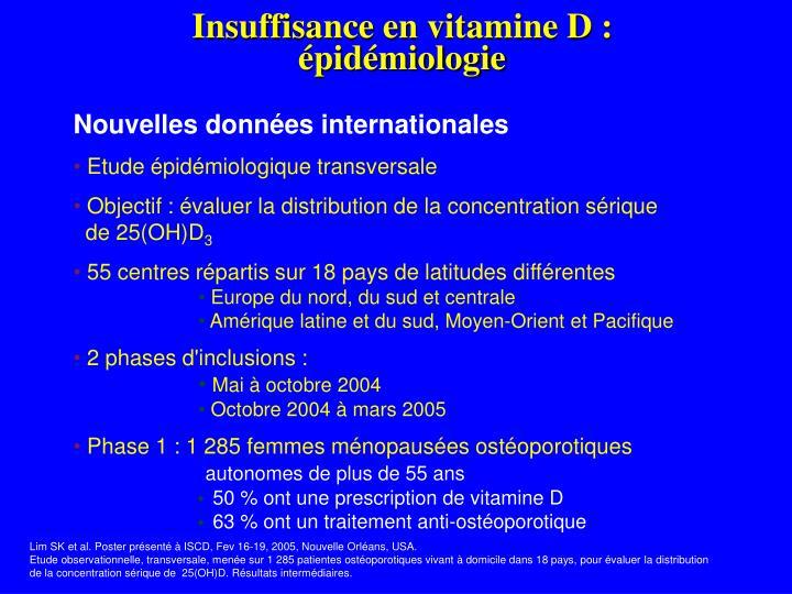 Insuffisance en vitamine D :