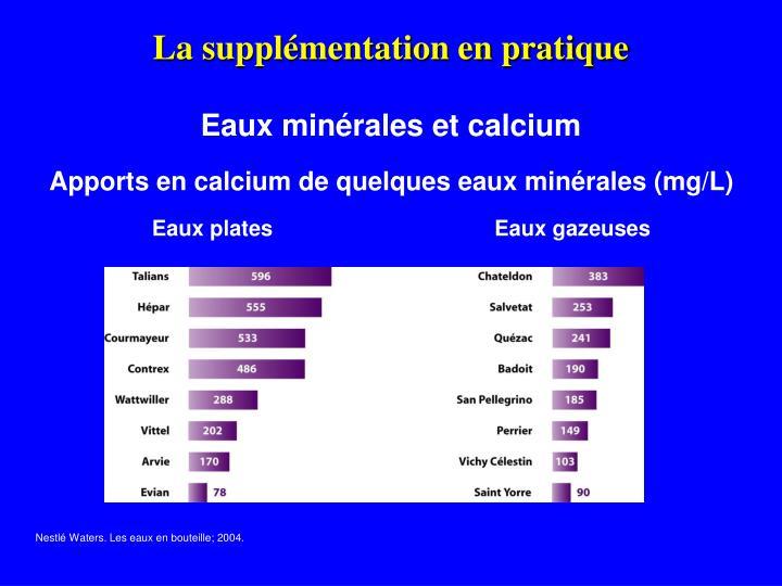 Apports en calcium de quelques eaux minérales (mg/L)