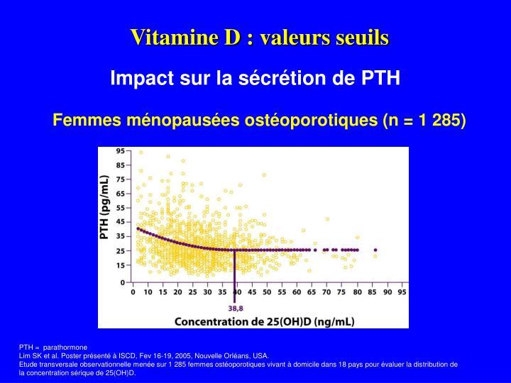 Vitamine D : valeurs seuils
