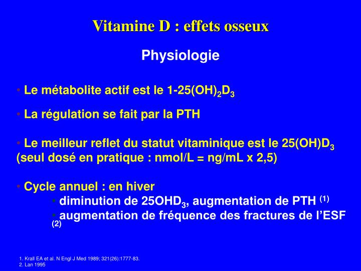 Vitamine D : effets osseux