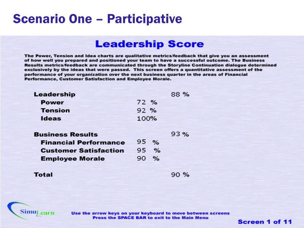 Scenario One – Participative