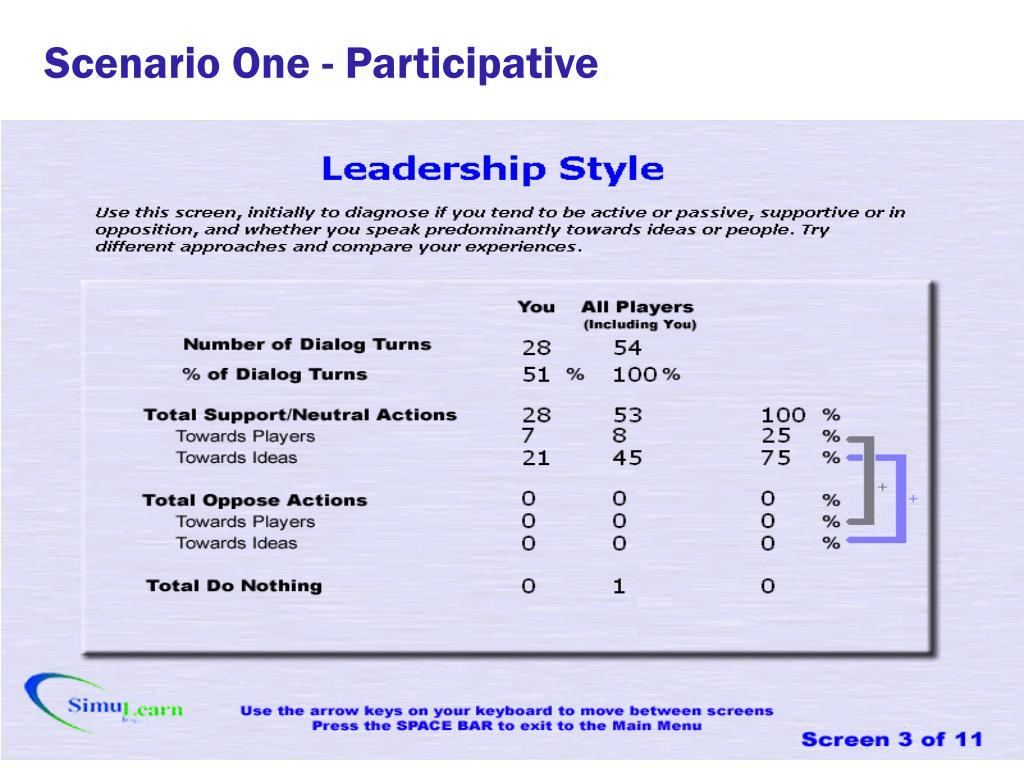 Scenario One - Participative