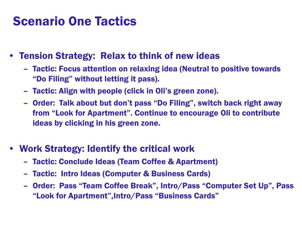 Scenario One Tactics