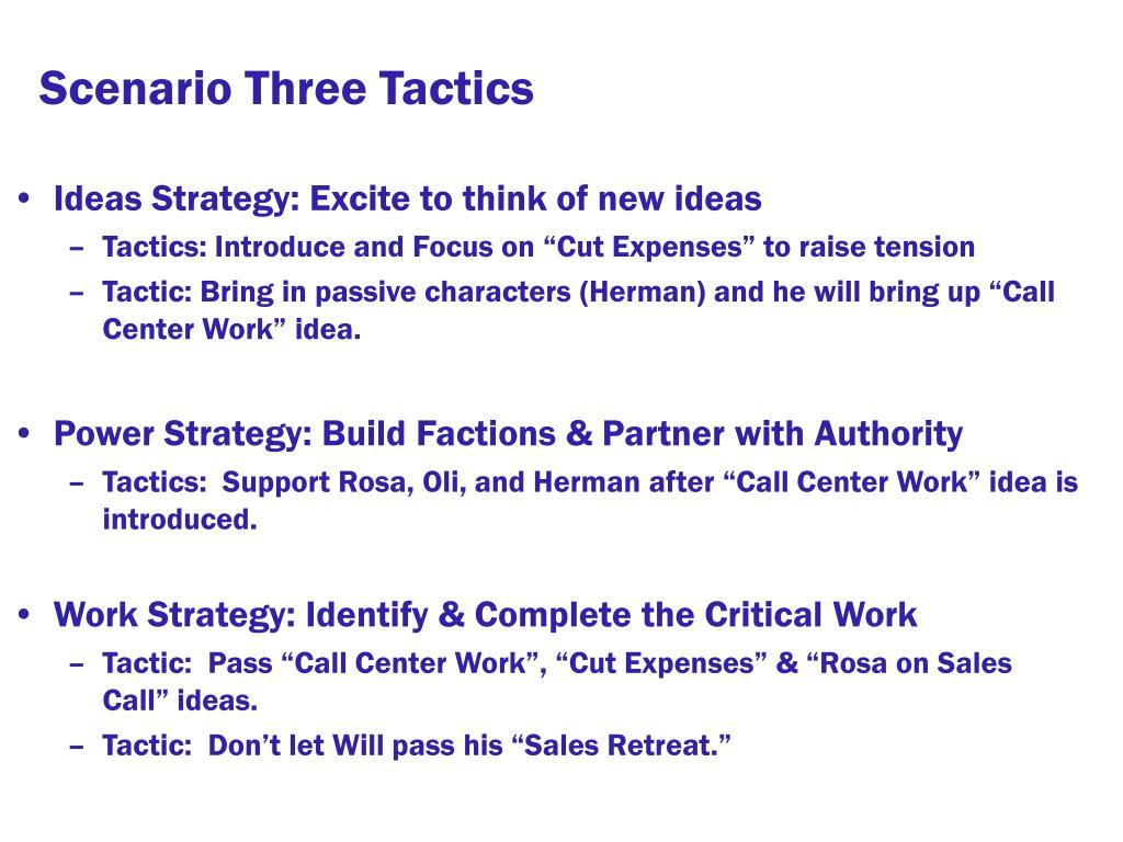Scenario Three Tactics