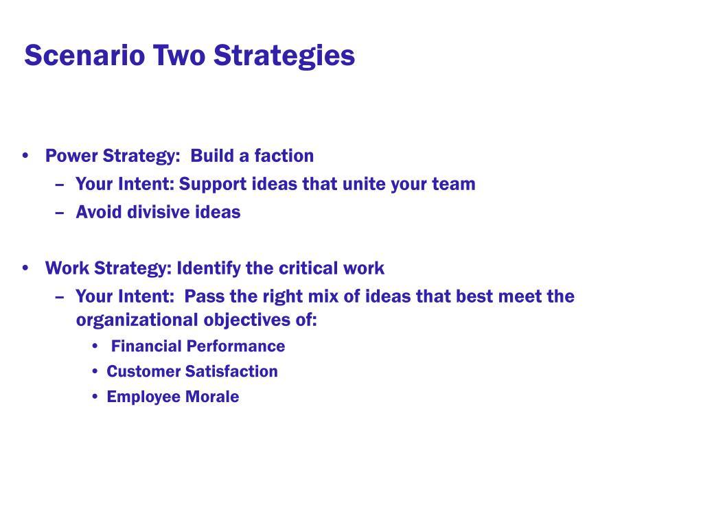 Scenario Two Strategies