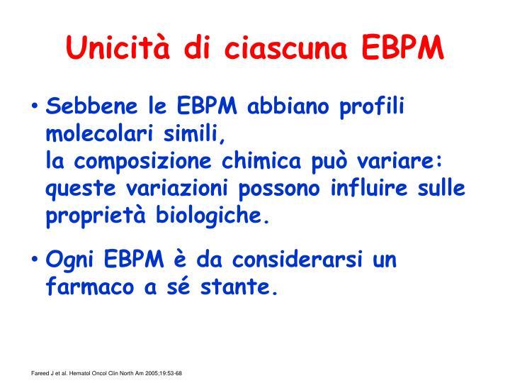 Unicità di ciascuna EBPM