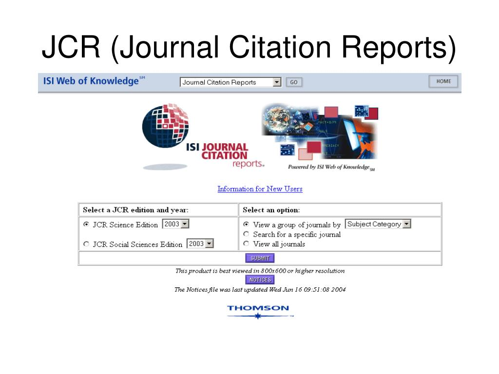 JCR (Journal Citation Reports)