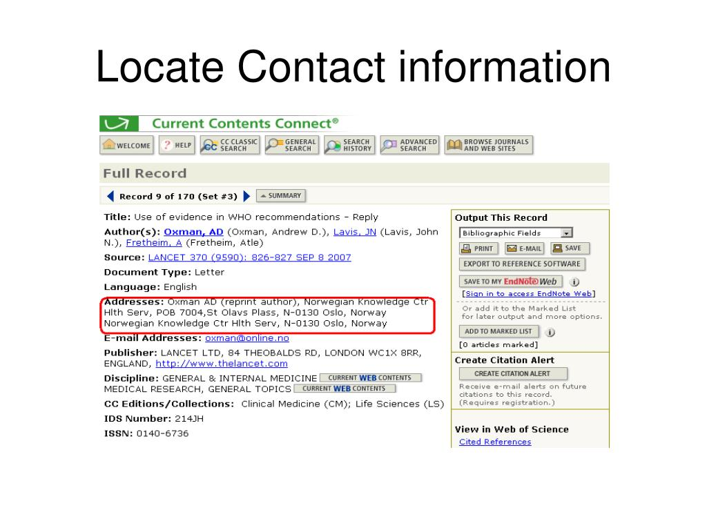 Locate Contact information