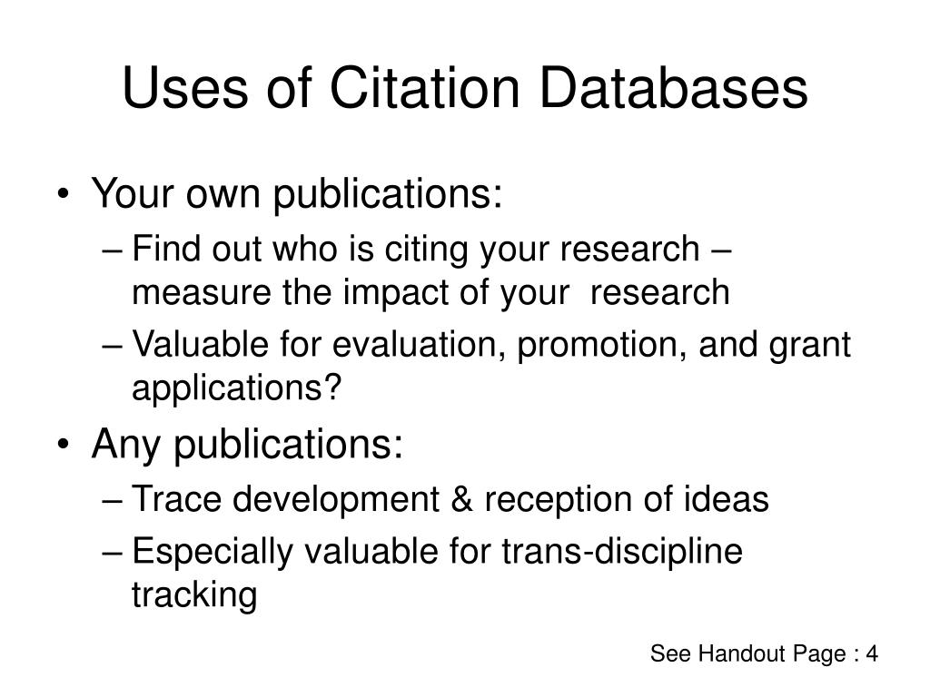 Uses of Citation Databases