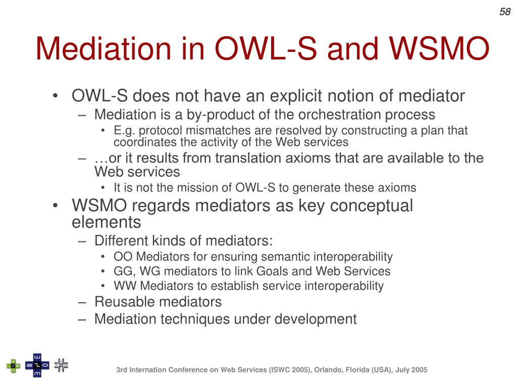 Mediation in OWL-S and WSMO