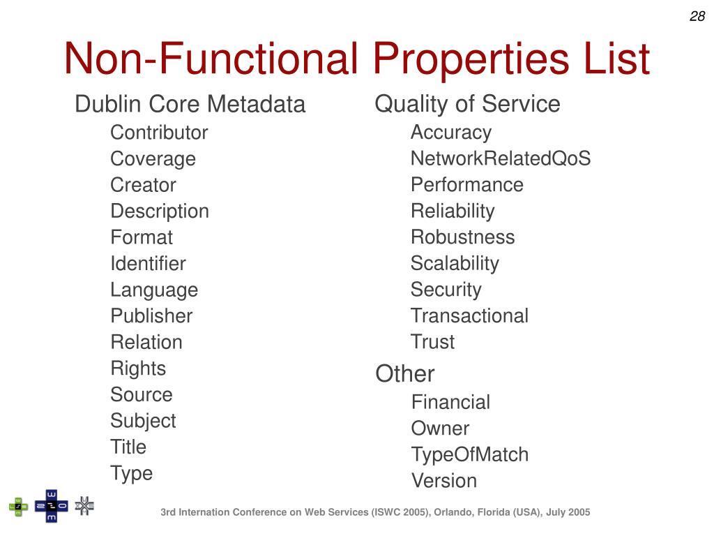 Non-Functional Properties List