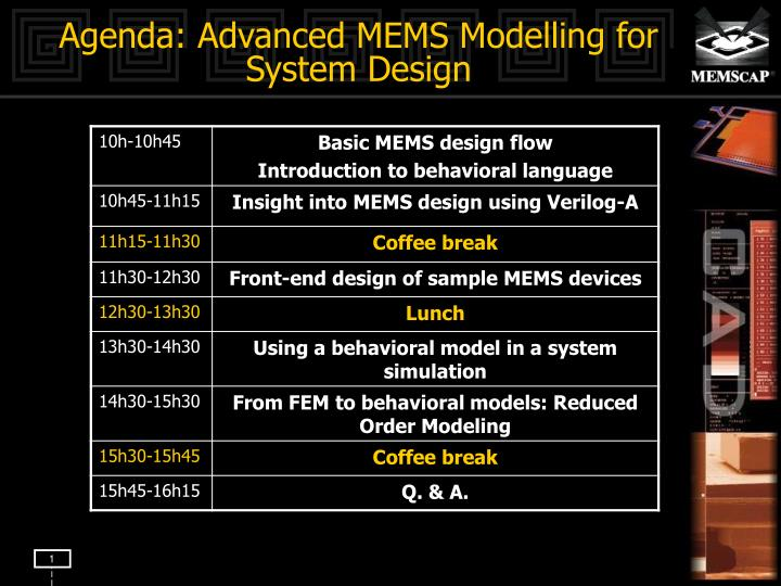 Agenda advanced mems modelling for system design