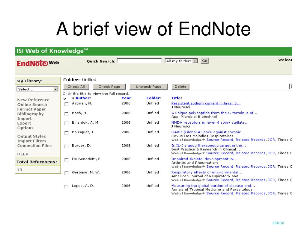 A brief view of EndNote