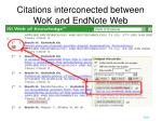 citations interconected between wok and endnote web