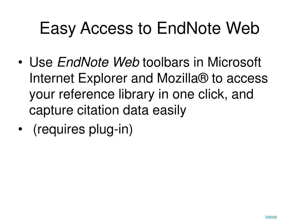 Easy Access to EndNote Web