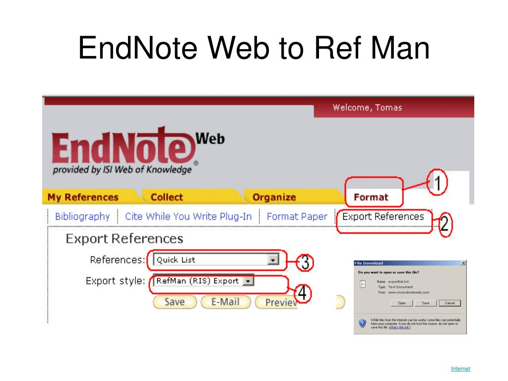 EndNote Web to Ref Man