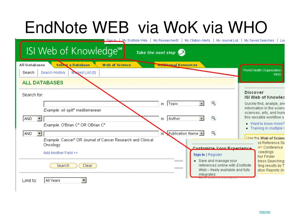 EndNote WEB  via WoK via WHO