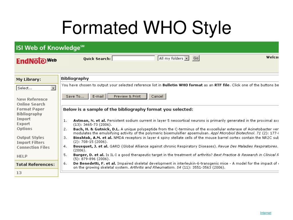 Formated WHO Style