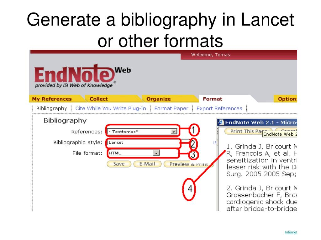 Generate a bibliography in Lancet or other formats