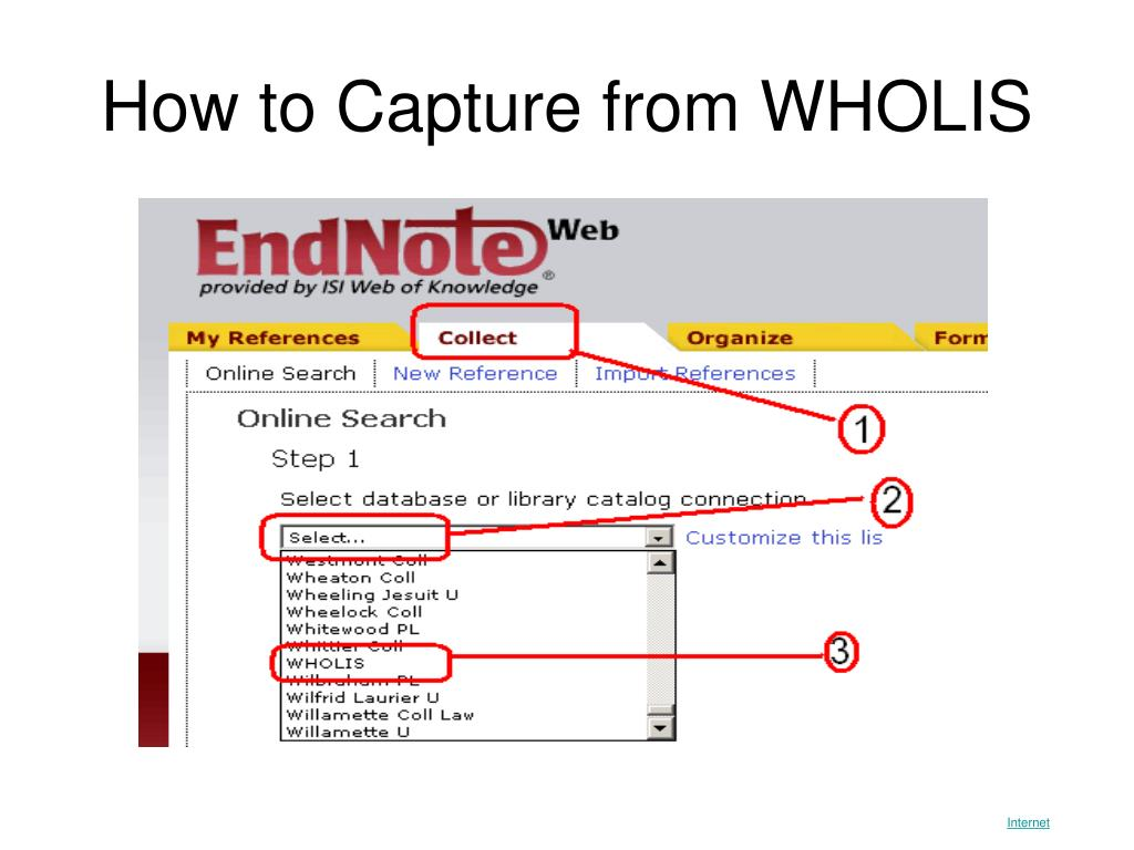 How to Capture from WHOLIS