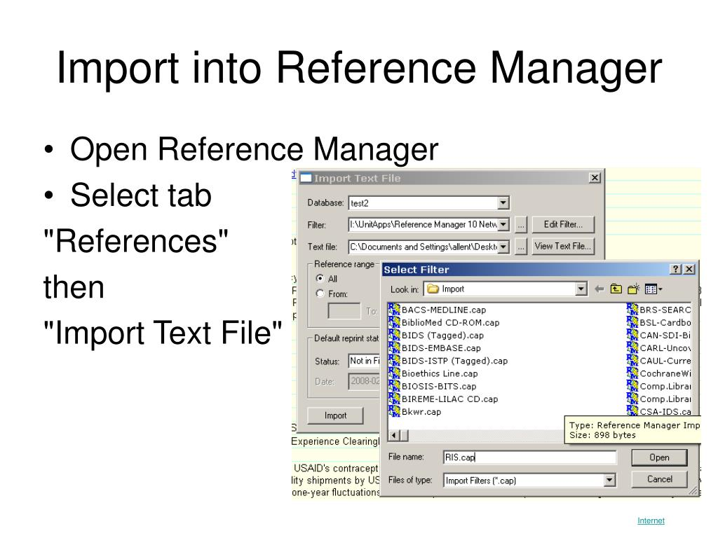Import into Reference Manager