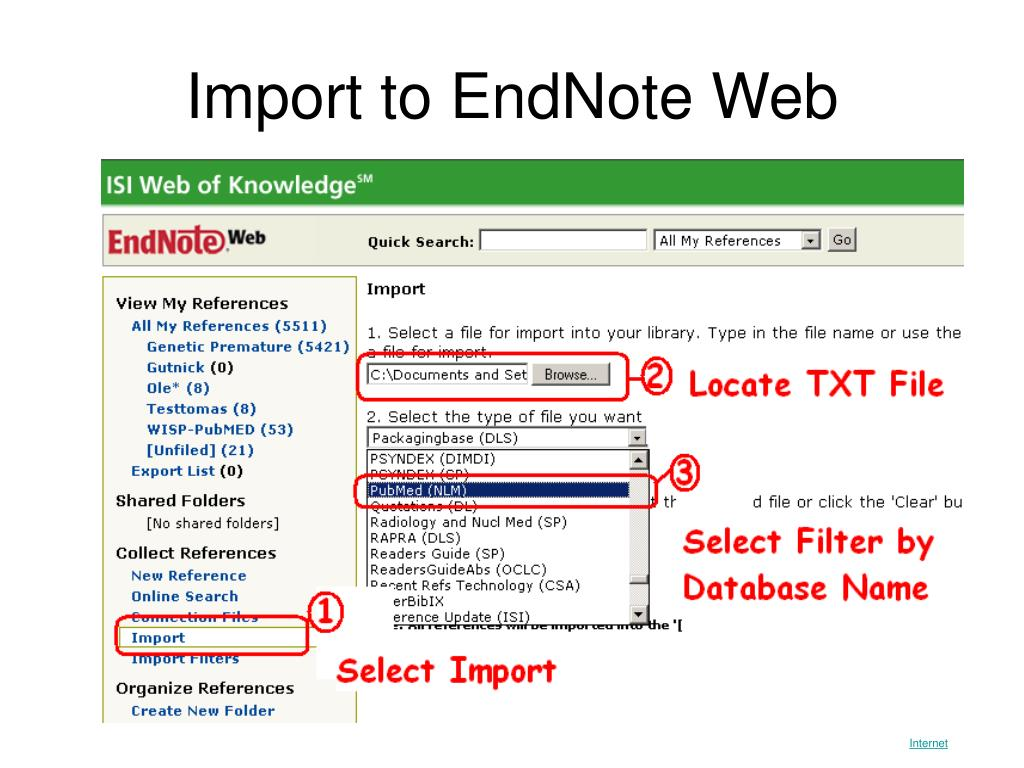 Import to EndNote Web