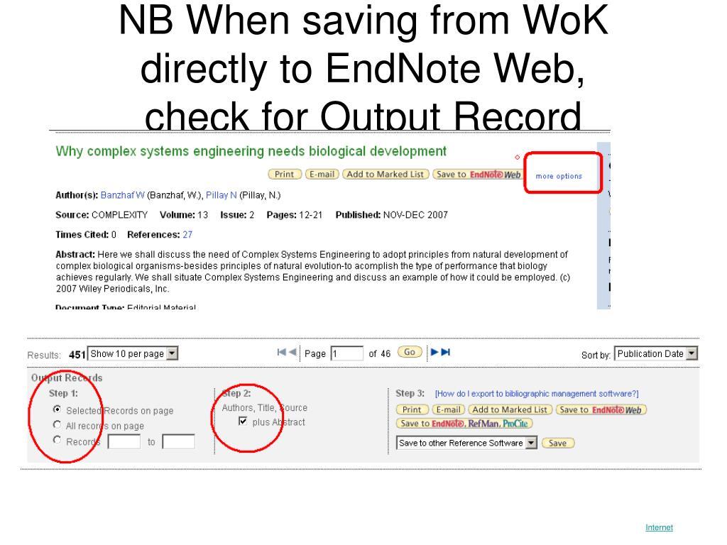 NB When saving from WoK