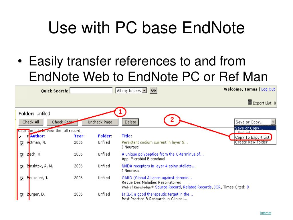 Use with PC base EndNote