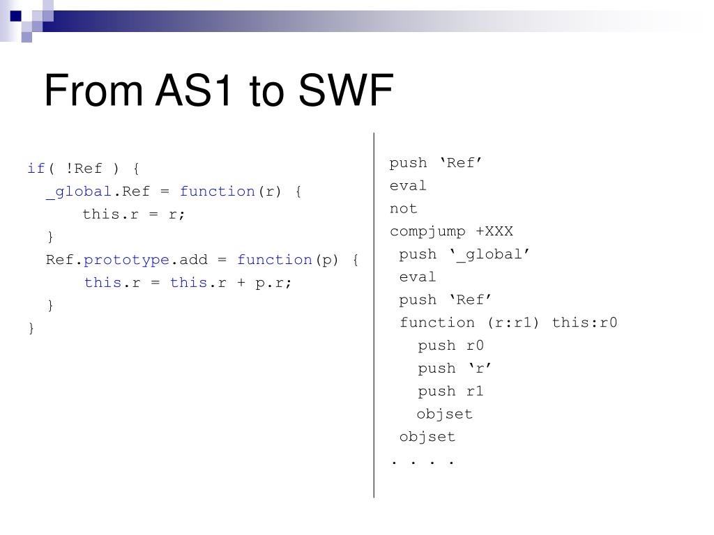From AS1 to SWF