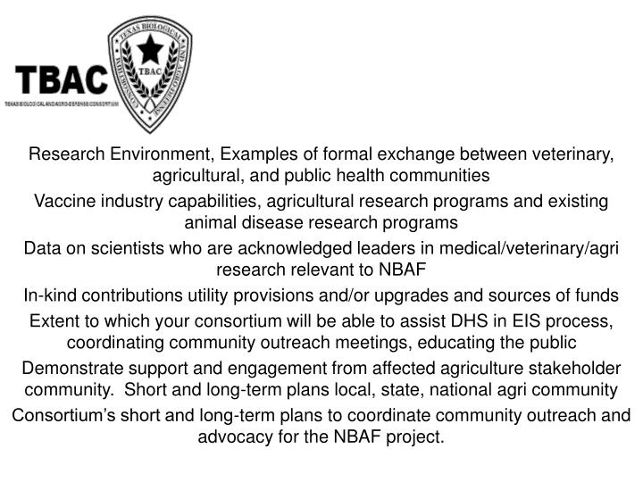 Research Environment, Examples of formal exchange between veterinary, agricultural, and public health communities
