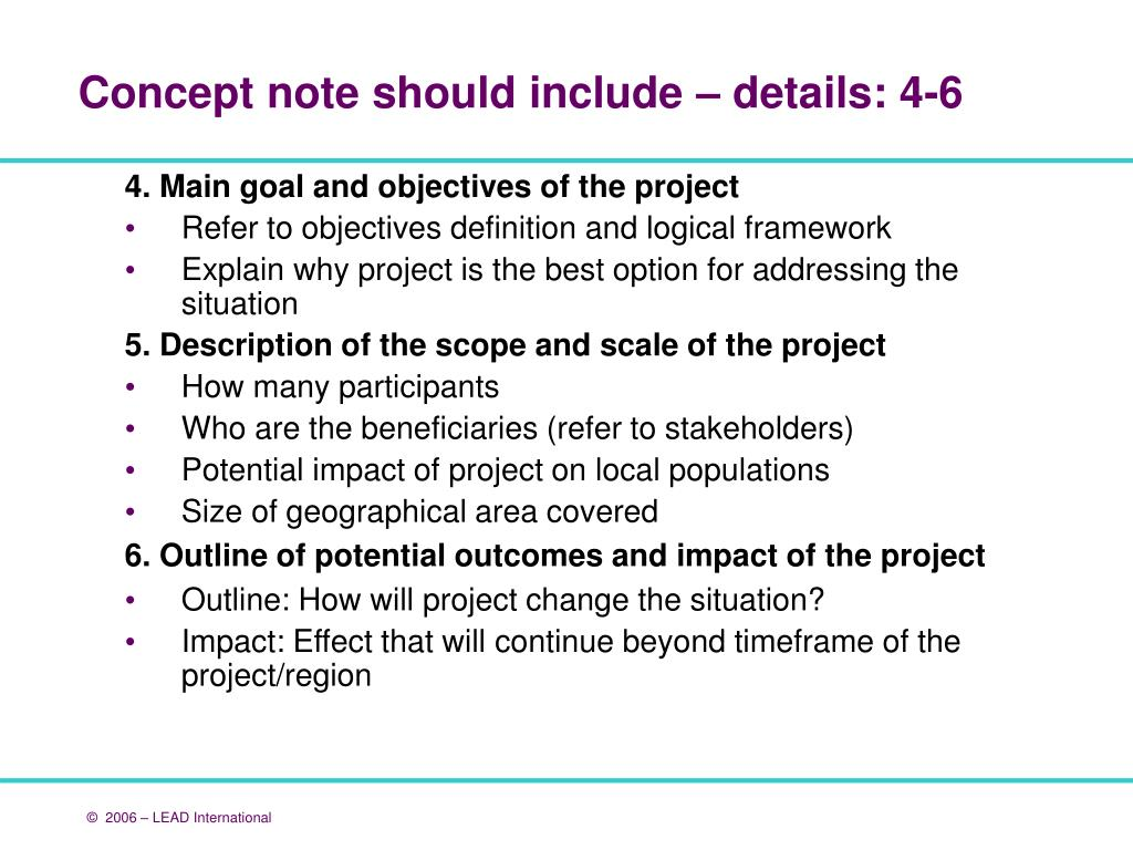 4. Main goal and objectives of the project