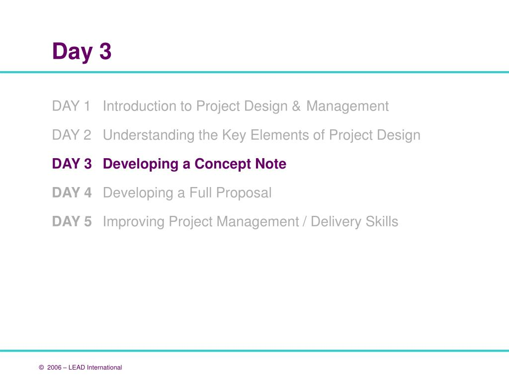 DAY 1 	Introduction to Project Design & 	Management