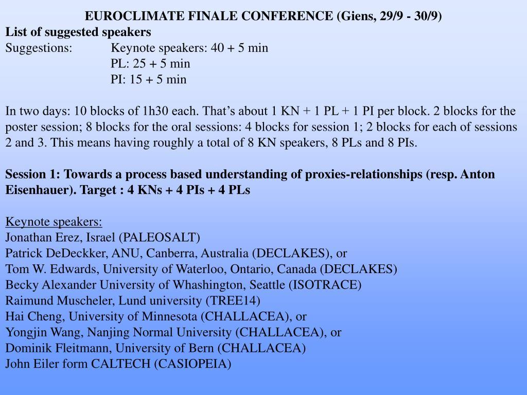 EUROCLIMATE FINALE CONFERENCE (Giens, 29/9 - 30/9)
