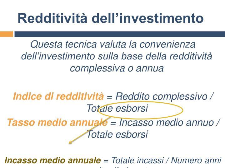 Redditività dell'investimento