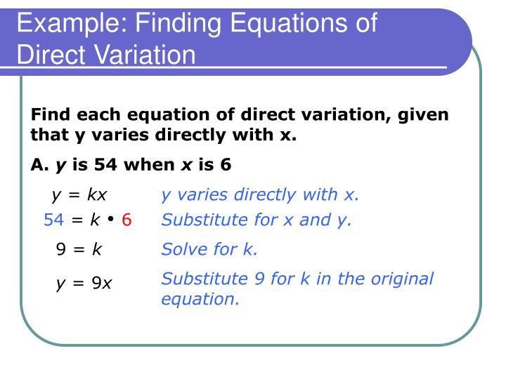 Example: Finding Equations of Direct Variation