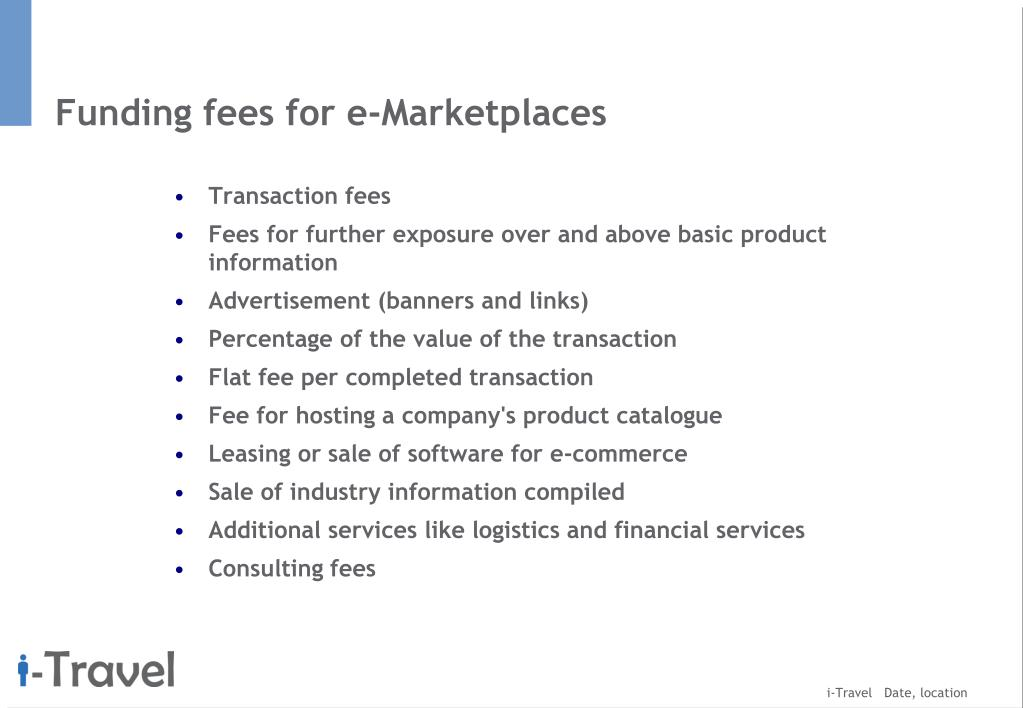 Funding fees for e-Marketplaces