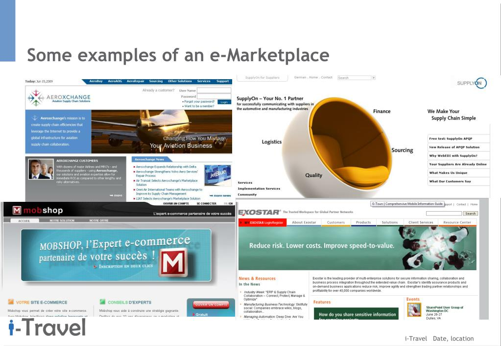 Some examples of an e-Marketplace