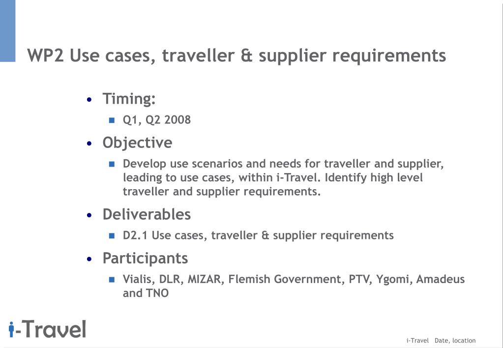 WP2 Use cases, traveller & supplier requirements